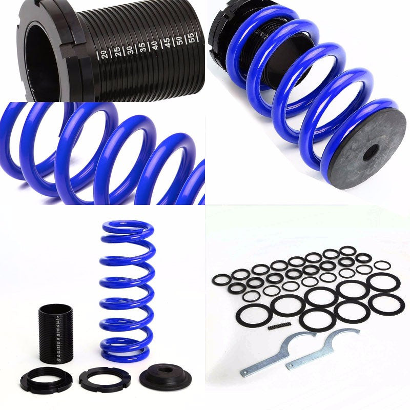 Front/Rear Scaled Black Coilover Blue Lowering Spring For 93-97 Ford Probe/MX6-Suspension-BuildFastCar