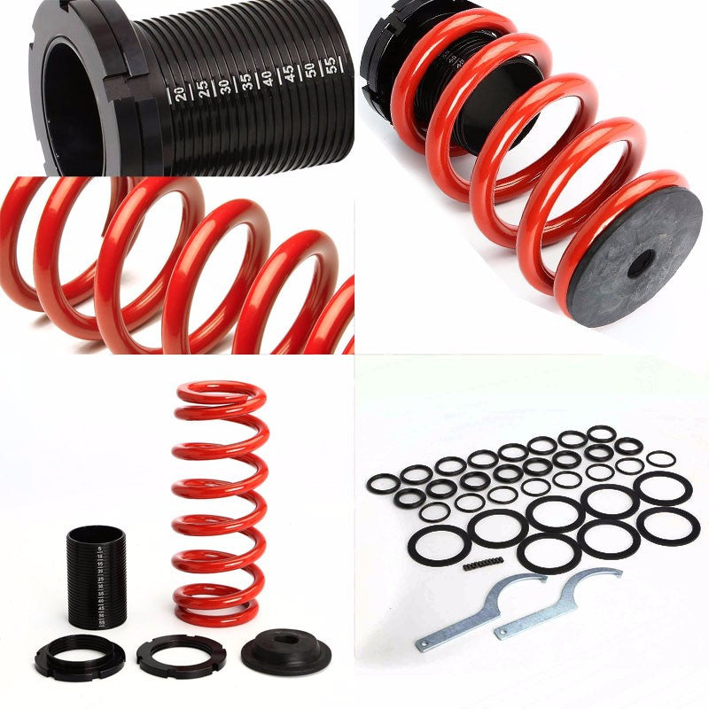 Front/Rear Scaled Black Coilover Red Lowering Spring For 93-97 Ford Probe/MX6-Suspension-BuildFastCar