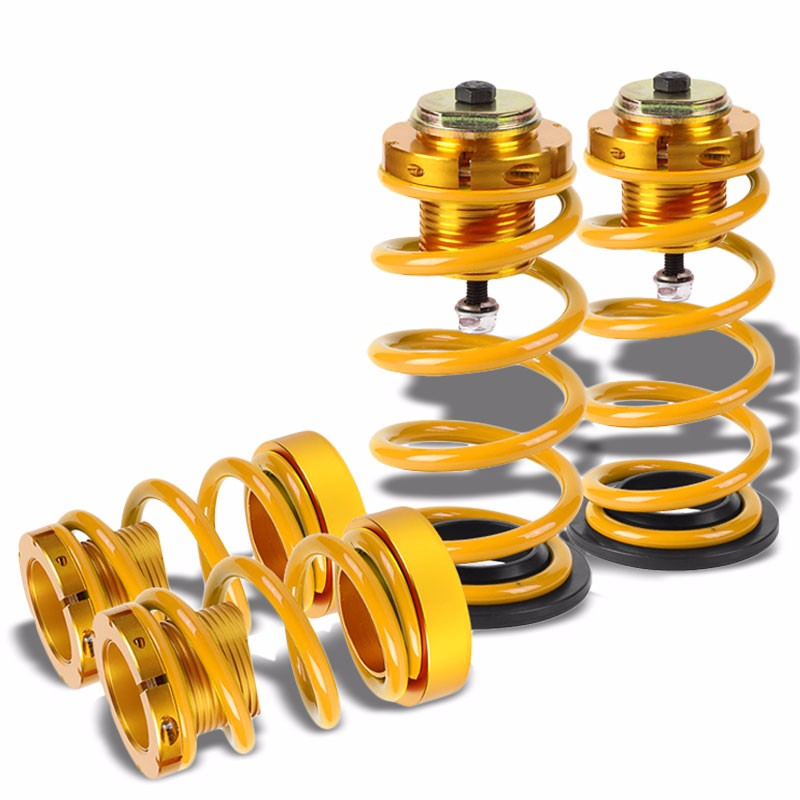 "Front/Rear 1""-4"" Adjust Gold Suspension Lowering Spring+Perch For 06-11 Civic-Suspension-BuildFastCar"
