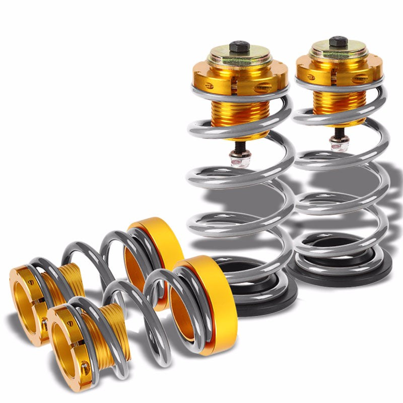 "Front/Rear 1""-4"" Adjust Silver Suspension Lowering Spring+Perch For 06-11 Civic-Suspension-BuildFastCar"
