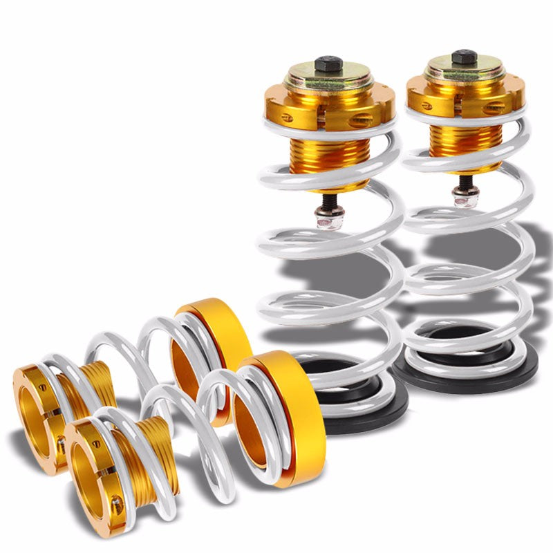 "Front/Rear 1""-4"" Adjust White Suspension Lowering Spring+Perch For 06-11 Civic-Suspension-BuildFastCar"
