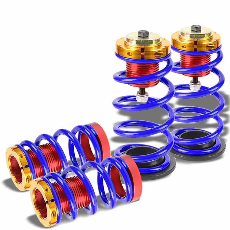 "Front/Rear 1""-4"" Adjust Blue Suspension Lowering Spring+Perch For 12-15 Civic-Suspension-BuildFastCar"