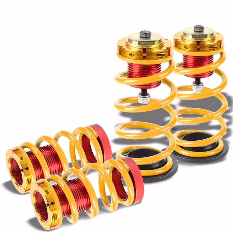 "Front/Rear 1""-4"" Adjust Gold Suspension Lowering Spring+Perch For 12-15 Civic-Suspension-BuildFastCar"