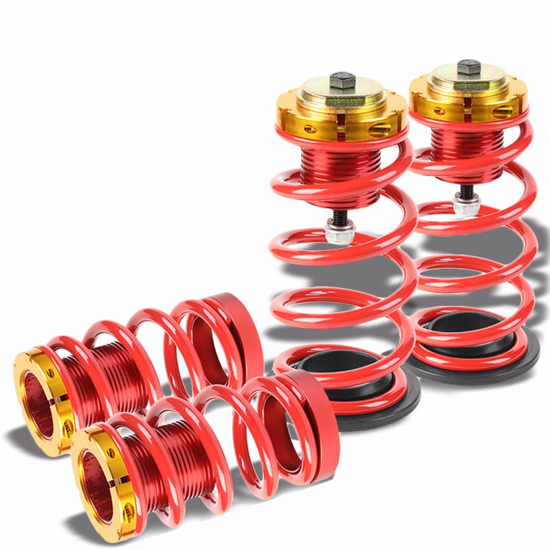 "Front/Rear 1""-4"" Adjust Red Suspension Lowering Spring+Perch For 12-15 Civic-Suspension-BuildFastCar"