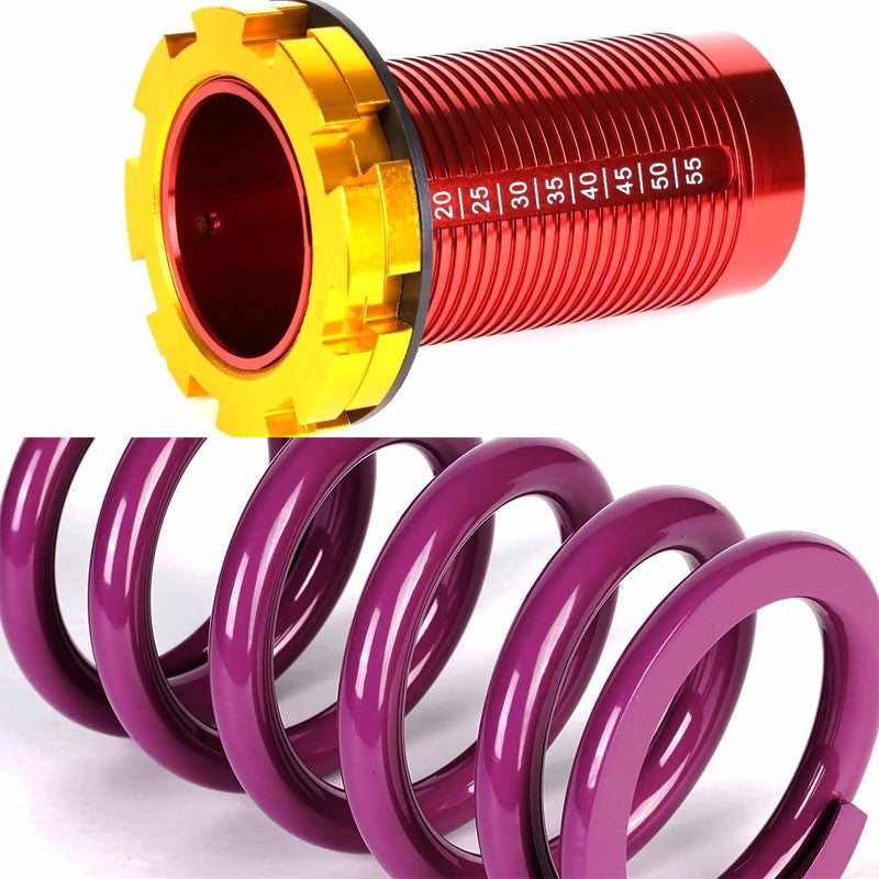 Front/Rear Red Scaled Purple Coilover Lowering Spring For 88-91 Civic/88-97 CR-X/90-01 Integra-Suspension-BuildFastCar