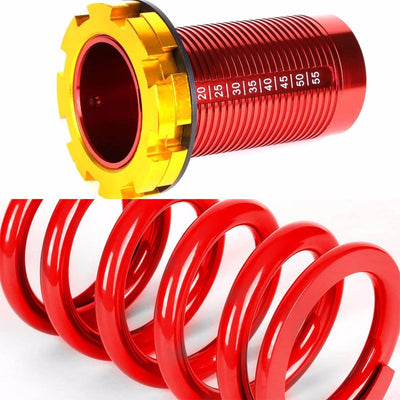 DNA Black Shock Absorbers+Red Coilover Red Lowering Spring For 88-91 Civic/CRX-Shocks & Springs-BuildFastCar