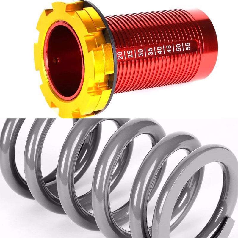 Front/Rear Red Scaled Silver Coilover Lowering Spring For 88-91 Civic/88-97 CR-X/90-01 Integra-Suspension-BuildFastCar