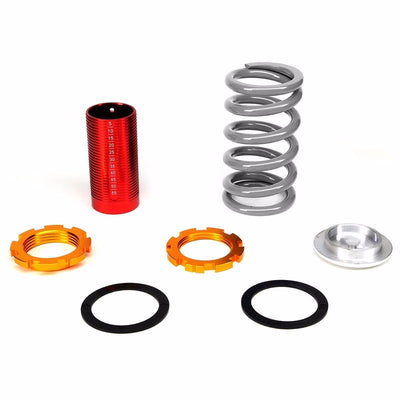 DNA Black Shock Absorber+Red Coilover Silver Lowering Spring For 88-91 Civic/CRX-Shocks & Springs-BuildFastCar