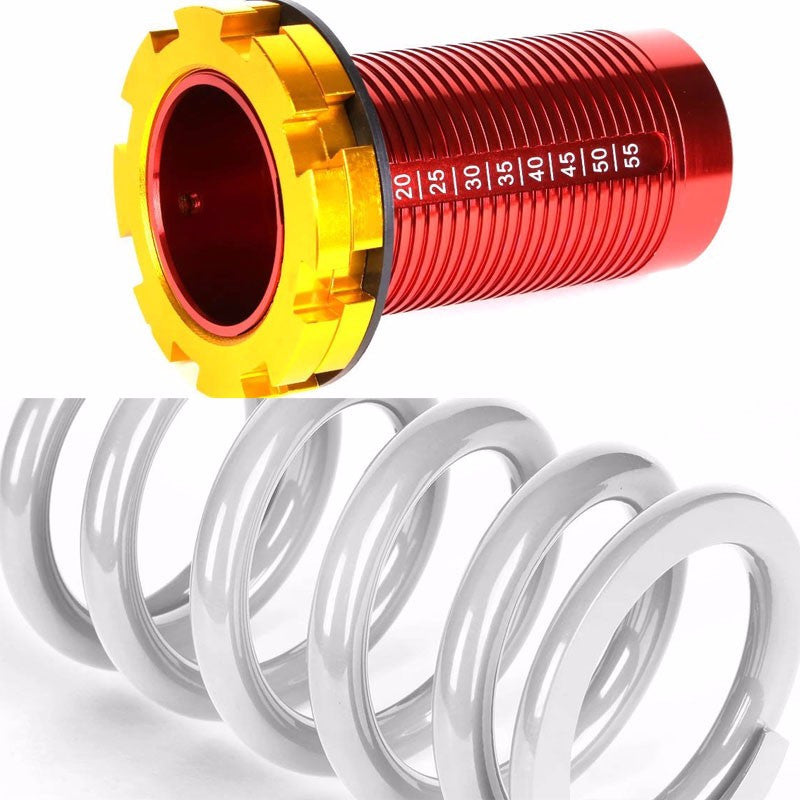 Front/Rear Red Scaled White Coilover Lowering Spring For 88-91 Civic/88-97 CR-X/90-01 Integra-Suspension-BuildFastCar