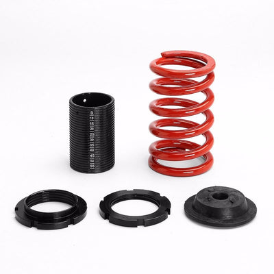Black Shock Damper Absorber+Adjustable Red Coilover Spring T44 For 96-00 Civic-Shocks & Springs-BuildFastCar