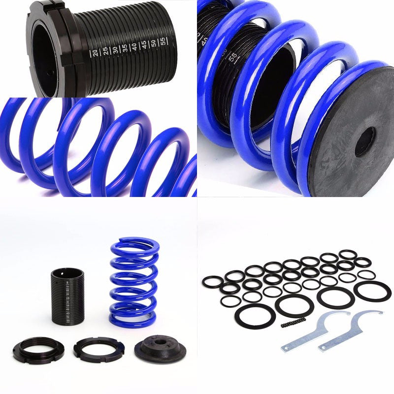 Front/Rear Scaled Black Coilover Blue Lowering Spring For 00-05 Mit Eclipse 3G-Suspension-BuildFastCar