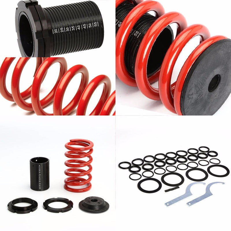 Front/Rear Scaled Black Coilover Red Lowering Spring For 00-05 Mit Eclipse 3G-Suspension-BuildFastCar