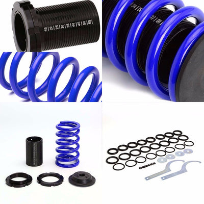 Front/Rear Scaled Black Coilover Blue Lowering Spring For 93-97 Miata/MX-3 1.8L-Suspension-BuildFastCar