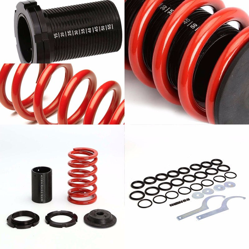 Front/Rear Scaled Black Coilover Red Lowering Spring For 93-97 Miata/MX-3 1.8L-Suspension-BuildFastCar