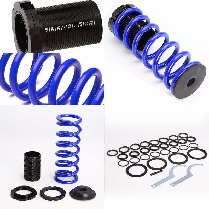 Front/Rear Scaled Black Coilover Blue Lowering Spring For 93-97 Altima U13 2.4L-Suspension-BuildFastCar