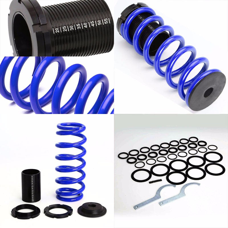 Front/Rear Scaled Black Coilover Blue Lowering Spring For 85-98 VW Golf/Jetta-Suspension-BuildFastCar