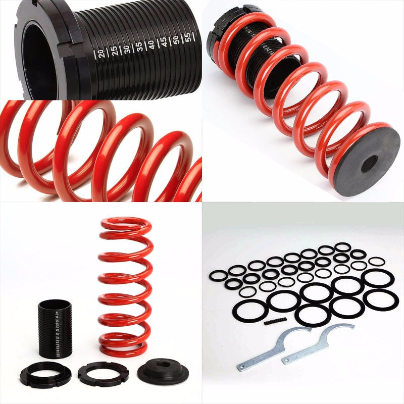 Front/Rear Scaled Black Coilover Red Lowering Spring For 85-98 VW Golf/Jetta-Suspension-BuildFastCar