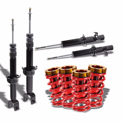 DNA Black Shock Absorbers+Red Coilover Red Lowering Spring For 88-91 Civic/CRX