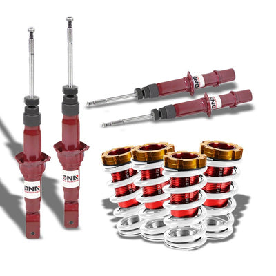 DNA Red Gas Shock Absorber+Red/White Adjustable Coilover For Honda 92-95 Civic