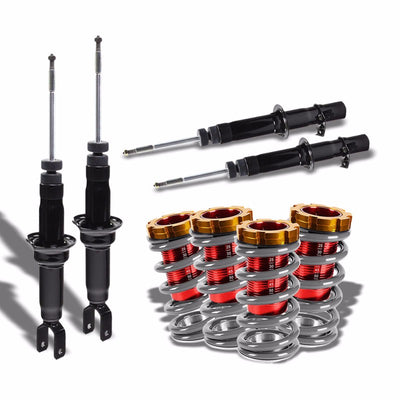 DNA Black Shock Absorbers+Red/Silver Adjustable Coilover For Honda 96-00 Civic