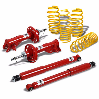 DNA Red Gas Shocks Absorber+Yellow Lowering Spring Kit For 06-11 Civic FG/FA/FD