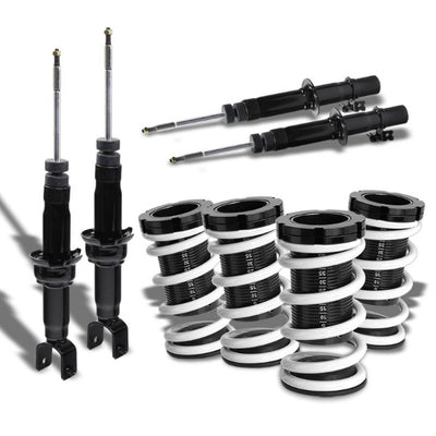 Black Gas Shock Absorber Struts+Scaled White Coilover Spring T44 For 92-95 Civic