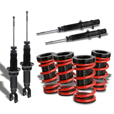 Black Shock Damper Absorber+Adjustable Red Coilover Spring T44 For 96-00 Civic