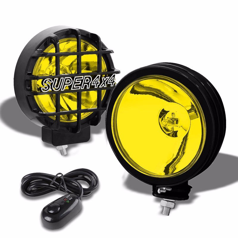 "6"" Round Black Body Housing Yellow Fog Light/Super 4x4 Offroad Guard Work Lamp-Exterior-BuildFastCar"