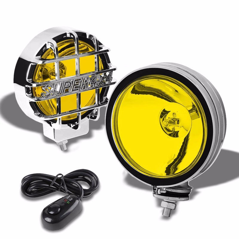 "6"" Round Chrome Body Housing Yellow Fog Light/Super 4x4 Offroad Guard Work Lamp-Exterior-BuildFastCar"