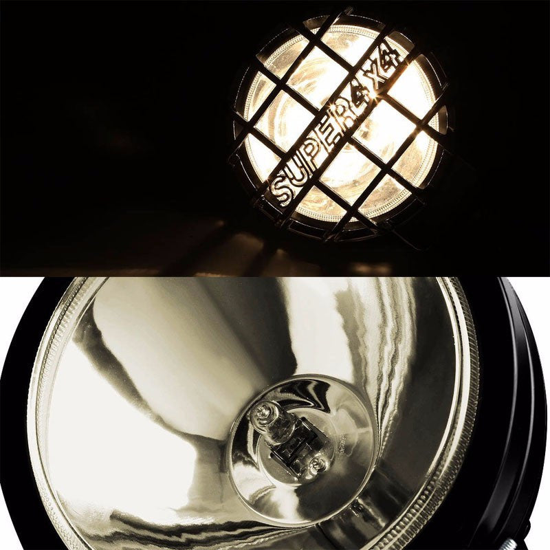 "6"" Round Black Body Housing Clear Fog Light/Super 4x4 Offroad Guard Work Lamp-Exterior-BuildFastCar"