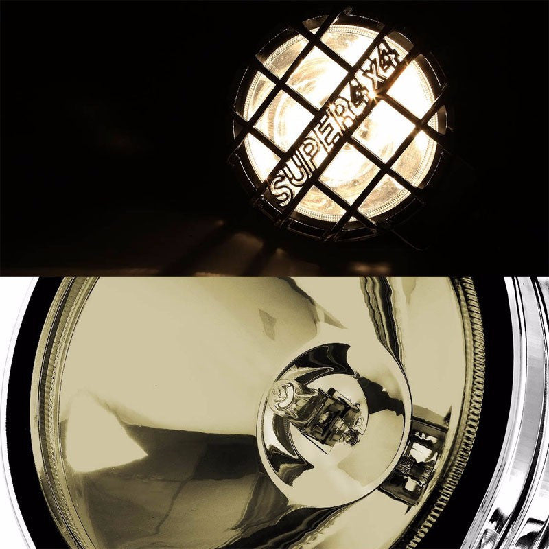 "6"" Round Chrome Body Housing Clear Fog Light/Super 4x4 Offroad Guard Work Lamp-Exterior-BuildFastCar"