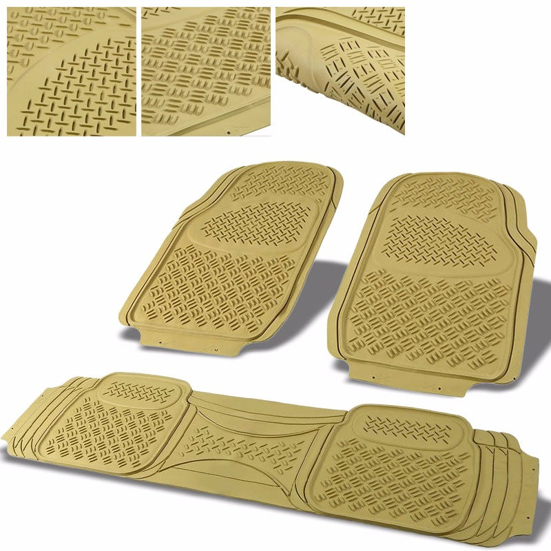Universal 3Pcs Tan ABS Heavy Duty All Weather Front+Back Seats Floor Mats-Pedals & Pads-BuildFastCar