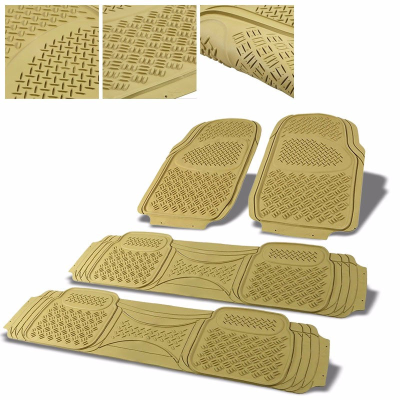 Universal 4Pcs Tan ABS Heavy Duty All Weather Front+Back Seats Floor Mats-Interior-BuildFastCar