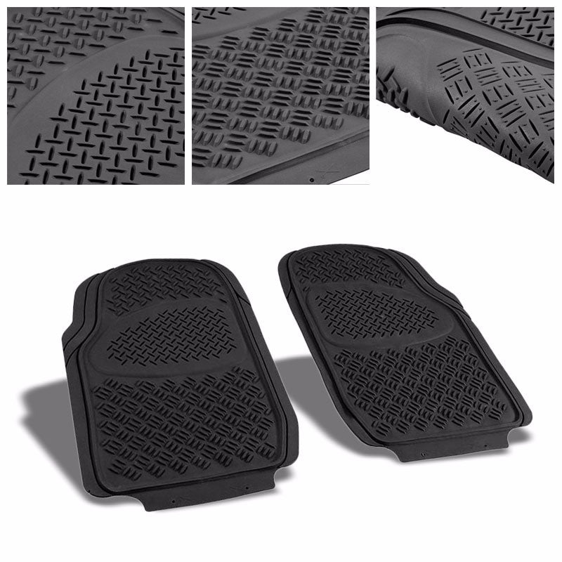 Universal Black ABS Heavy Duty All Weather/Season Front Seat 3D Floor Mats-Interior-BuildFastCar
