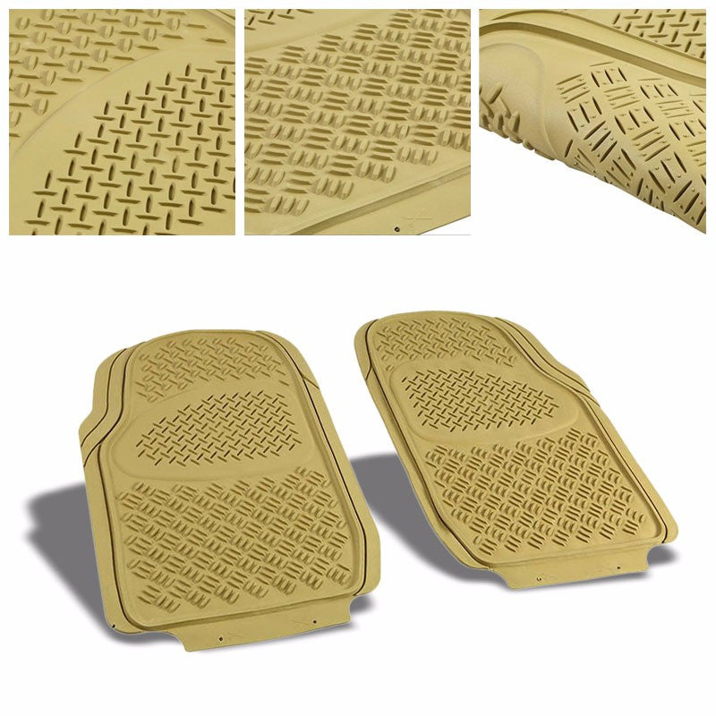 Universal 3Pcs Tan ABS Heavy Duty All Weather Front+Back Seats Floor Mats-Interior-BuildFastCar