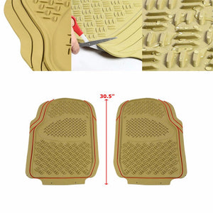 Universal Tan ABS Heavy Duty All Weather/Season Front Seat 3D Floor Mats-Interior-BuildFastCar