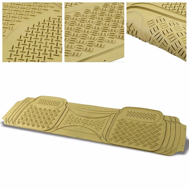 Universal Tan ABS Heavy Duty Rubber All Weather/Season Back Seat 3D Floor Mats-Interior-BuildFastCar