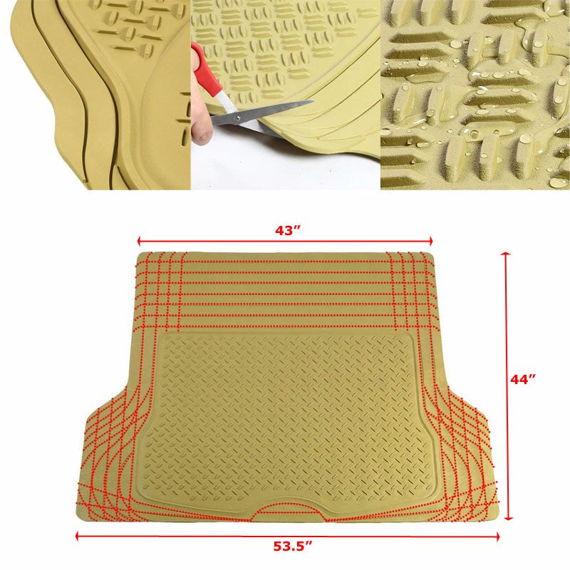 Universal Tan ABS Heavy Duty All Weather/Season Trunk/Cargo Floor Mats For Truck/SUV-Interior-BuildFastCar
