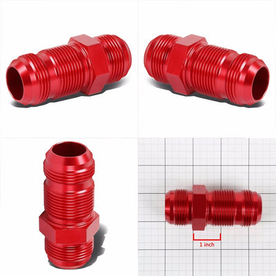 Red Male Straight 1/8-27 NPT Flare Bulkhead Oil/Fuel Hose 16AN Fitting Adapter-Performance-BuildFastCar