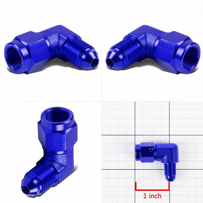 Blue 90 Degree Female/Male 1/8-27 NPT Flare Bulkhead 3AN Oil/Fuel Hose Fitting-Performance-BuildFastCar