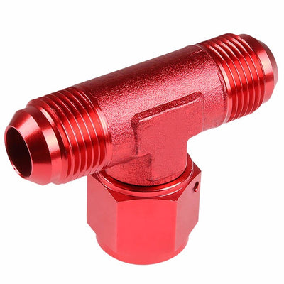 Red Male Tee Shape Flare Female Center Port Oil/Fuel Hose 6AN Fitting Adapter-Performance-BuildFastCar