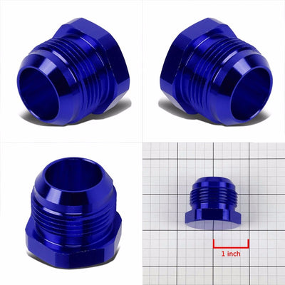 Blue Aluminum Male Flare Head Nut Plug Lock Oil/Fuel Hose 16AN Fitting Adapter-Performance-BuildFastCar