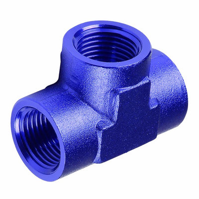"Blue Female Tee Shape Pipe 1/4"" NPT Thread Oil/Fuel Hose 4AN Fitting Adapter-Performance-BuildFastCar"