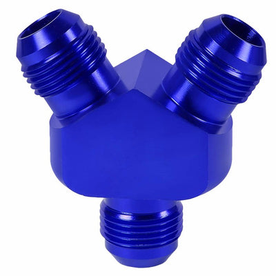 Blue Aluminum 8AN Male-6AN Male Y-Block Splitter Oil/Fuel Hose Fitting Adapter-Performance-BuildFastCar