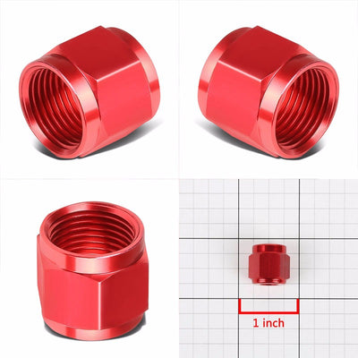 Red Aluminum Female Tube/Line Sleeve Nut Flare Oil/Fuel 4AN Fitting Adapter-Performance-BuildFastCar