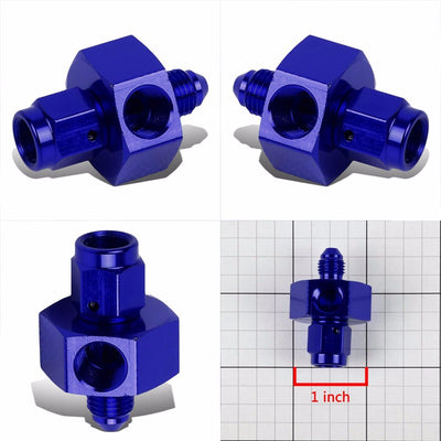 "Blue Female/Male+1/8"" NPT Side Port Oil/Fuel Pressure 3AN-3AN Fitting Adapter-Performance-BuildFastCar"