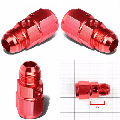 "Red Female/Male+1/8"" NPT Side Port Oil/Fuel Pressure 10AN-10AN Fitting Adapter-Performance-BuildFastCar"