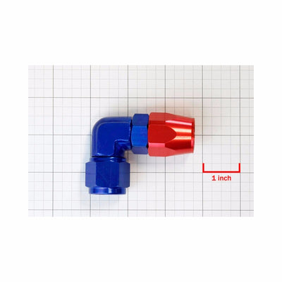 Red/Blue 90 Degree Swivel Oil/Fuel/Fluid Line Flare Hose 10AN Fitting Adapter-Performance-BuildFastCar