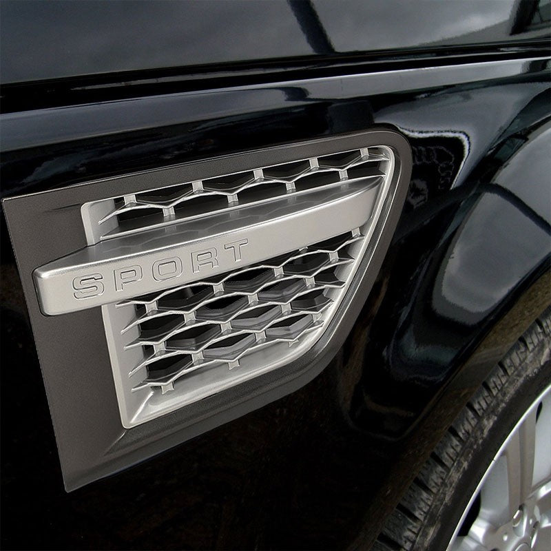 Grey Body/Silver Honeycomb Mesh Side Vent Grille For 10-12 Range Rover 5.0L DOHC-Exterior-BuildFastCar