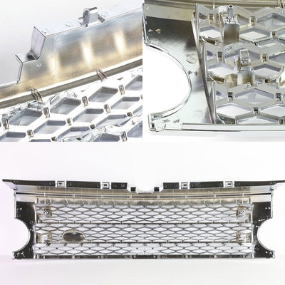 Chrome Diamond Mesh Style Front Grille For 05-09 LR3 Discovery 3 HSE/SE V6/V8-Exterior-BuildFastCar